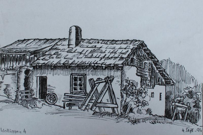 Altes Bauernhaus, gezeichnet von Hugo Wurzer